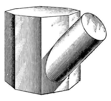 The images show the intersection of an octagonal prism and a cylinder. The cylinder intersects at an oblique angle, vintage line drawing or engraving illustration.