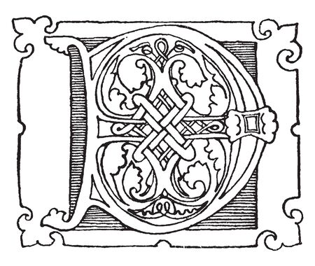A capital letter D in Romanesque, vintage line drawing or engraving illustration