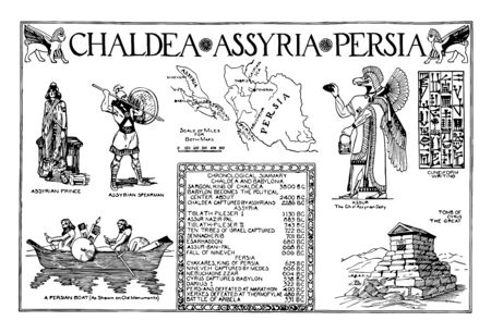 The image shows the Babylonia poster. It is an ancient painting that shows Chaldea, Assyria, Persia, soldiers, religion, writing and structures, vintage line drawing or engraving illustration.