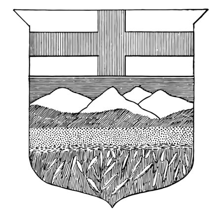 Alberta coat of arms vintage line drawing. Ilustração