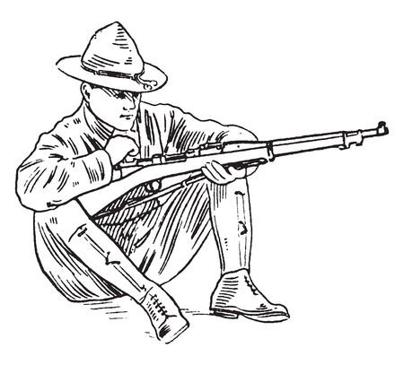 A man with rifle sitting on knees, vintage line drawing or engraving illustration