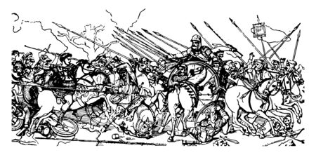 An illustration of the battlefield where kings and soldiers fight each other, vintage line drawing or engraving illustration.