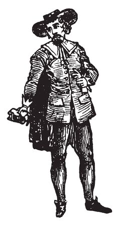 Puritan Male who sought to purify the Church of England from all Roman Catholic practices, vintage line drawing or engraving illustration.