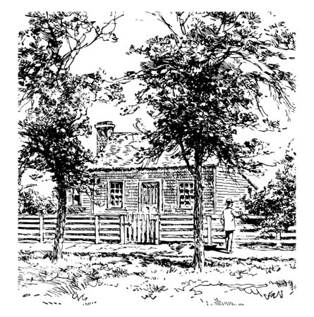 Image showing the place where General Grant was born, point pleasant, near Ohio river, Ohio, US  vintage line drawing.