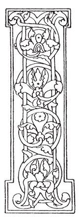 A letter I in Romanesque, vintage line drawing or engraving illustration