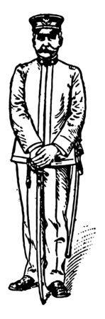 Attention resume the order saber and the position of the soldier, vintage line drawing or engraving illustration.