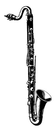 Bass Clarinet is a large clarinet whose range is an octave below the B flat clarinet, vintage line drawing or engraving illustration. 向量圖像