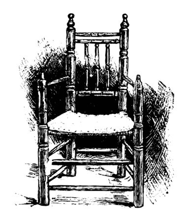 Carvers Chair is an ancient Egypt chair with a rush seat and turned legs vintage line drawing.