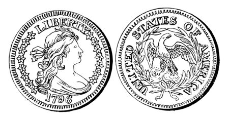 In this picture is Silver Quarter Coin. The cost is Quarter of dollar (25 cents), vintage line drawing or engraving illustration.