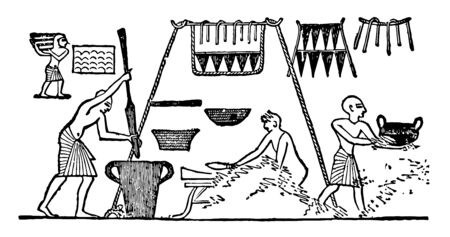 Illustration of an Egytian kitchen. Also Illustrates the importance of large rope as hanging shelf, vintage line drawing or engraving illustration. Ilustrace