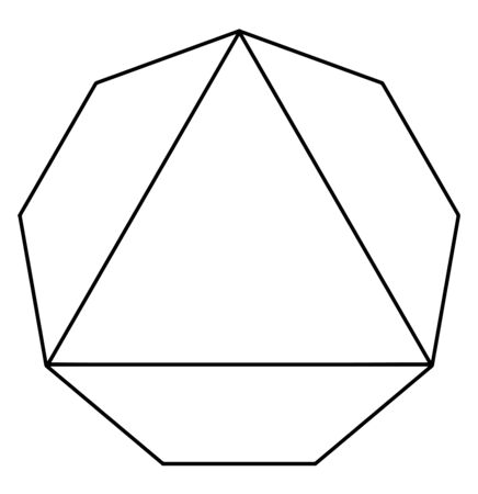 The sample of the equilateral triangle inscribed in a regular nonagon. The triangular corner alternated, vintage line drawing or engraving illustration.