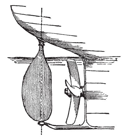 Balance Rudder supported on a skeg or projection from the keel about one third of its surface being forward, vintage line drawing or engraving illustration.