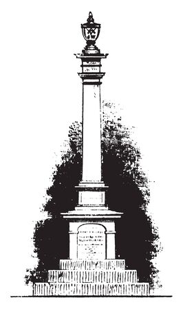 Monument of Joseph Warren an American physician ,vintage line drawing or engraving illustration Ilustração
