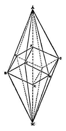 Sample scalenohedron with registered Rhombohedron. Scalenohedron bounded twelve scalene triangles, vintage line drawing or engraving illustration. 向量圖像