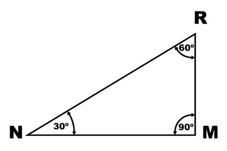 The image shows a triangle with the name of NRM. It has an angle of 30 degrees, 60 degrees R, M 90 degrees, vintage line drawing or engraving illustration.