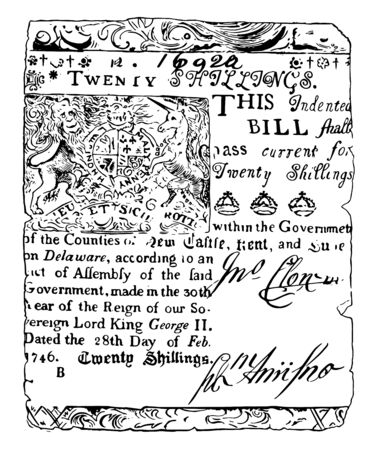 An image showing a Twenty Shillings Bill Delaware currency from 1746, vintage line drawing or engraving illustration.