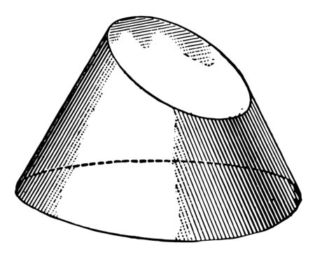 The conic sections are curved by the intersection of the plane. The plane of length to the Cone axis, vintage line drawing or engraving illustration.
