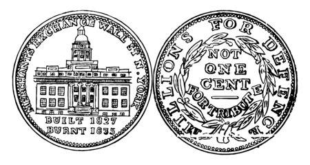 Das Bild zeigt beide Seiten der Hard Times Token US-Münze. Die Vorderseite hat ein nach links gerichtetes Schiff auf stürmischer See gezeigt. Die Vorderseite hat die Vorderseite der Händlerbörse, eine Vintage-Linienzeichnung oder eine Gravurillustration gezeigt. Vektorgrafik