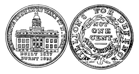 The image showing both side of Hard Times Token US coin. Obverse has shown left-facing ship on stormy seas. Obverse has shown the front of the Merchants Exchange, vintage line drawing or engraving illustration.
