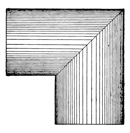 The sample of the intersection of the same diameter of two cylinders. L-shaped cylinders in the shape of an intersection, vintage line drawing or engraving illustration.