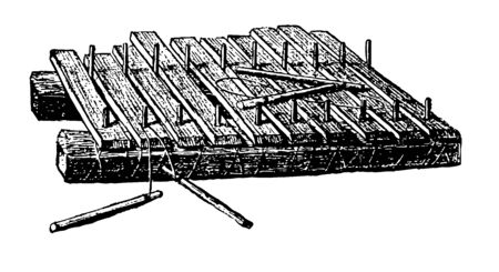 Xylophone consisting of a mounted row of wooden bars graduated in length to sound a chromatic scale, vintage line drawing or engraving illustration.
