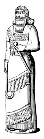 This image shows the statue of the Assyrian priest. The statue is decorated with small lines, vintage line drawing or engraving illustration.