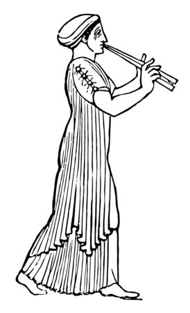 Ancient Grecian Female with Double Flute dressed for funeral procession, vintage line drawing or engraving illustration. Illusztráció