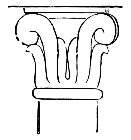 This image shows the structure of the pillar. It is the top of the pillar. It is usually used in temples, vintage line drawing or engraving illustration. 向量圖像