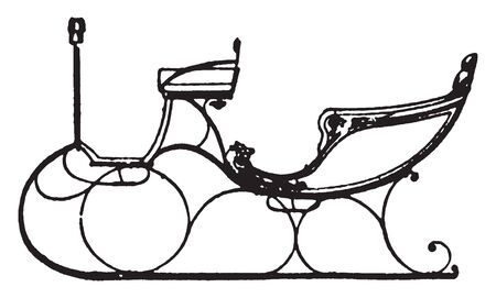 Victoria Sleigh is a sled drawn by horses or reindeer especially one used for passengers, vintage line drawing or engraving illustration.
