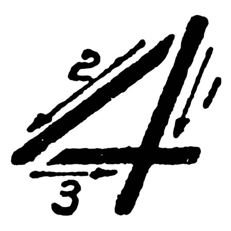 This is an image of how to write the inclined capital number 4 using correct strokes, vintage line drawing or engraving illustration.
