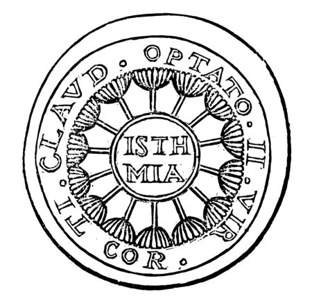 This image shows the medal made by using a pattern such as the concentric circle. The first and third circles are filled with the text and are filled with the design, vintage line drawing or engraving illustration.