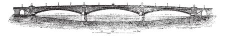 Southwark Bridge is an arch bridge in London England for traffic linking the district of Southwark, vintage line drawing or engraving illustration. 스톡 콘텐츠 - 132901764
