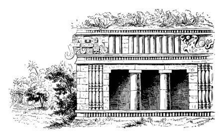 Palace of zayi is an architecturer made Mexican  building vintage line drawing.