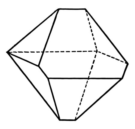 A distorted octahedron diagram. It is a polyhedron with eight faces. It is the main form of the isometric system, vintage line drawing or engraving illustration.