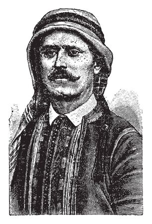Syrian who is a citizen to the country of Syria, vintage line drawing or engraving illustration.