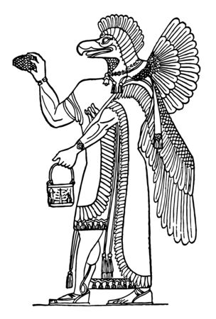 The image shows Assur. It is also called Ashur. It is human like the structure of the body and the face is like a bird. It also has wings, vintage line drawing or engraving illustration.
