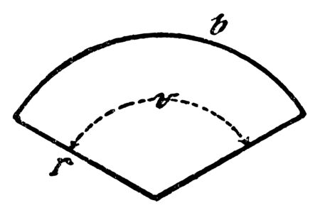 An image showing a circular sector with radius r, center  center angle v, and length of the arc of circle b, vintage line drawing or engraving illustration. 일러스트