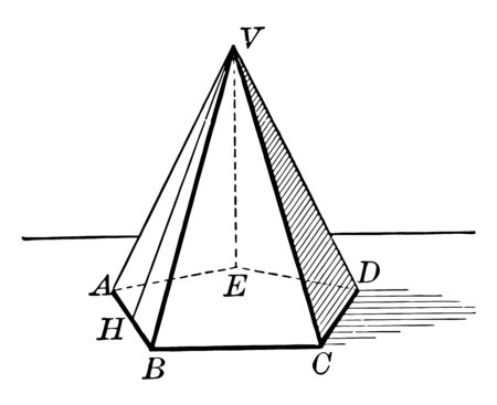In this image, Frustum of a pentagonal pyramid is part of a pyramid in which a section between the base and the base is the same, vintage line drawing or engraving illustration.