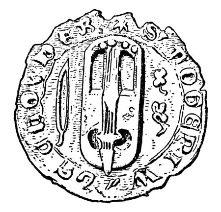 Crwth on a Seal is an archaic stringed musical instrument, vintage line drawing or engraving illustration.