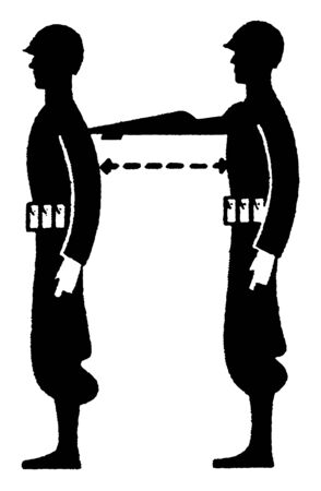 This image represents Military Distance Measurement, vintage line drawing or engraving illustration.