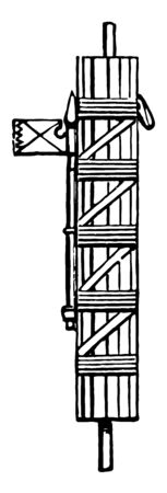 This image shows the Fasces of a Roman Magistrate. It has the rectangular shape. The form is full of lines, vintage line drawing or engraving illustration.