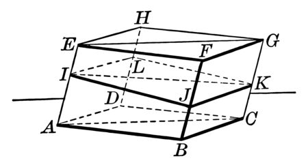 The image shows a parallelepiped separated horizontally from middle. The plane divides the parallelepiped into two equivalent triangular prisms, vintage line drawing or engraving illustration.