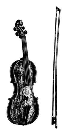 Viola may be considered a large violin tuned a fifth lower or as a small cello tuned an octave higher, vintage line drawing or engraving illustration.