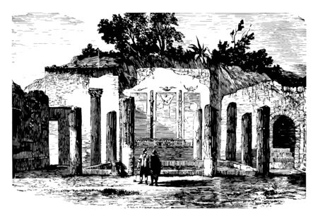 This is the image of the wall discovered in pompeii. There is a design of the birds on the surface of the wall. There are many trees behind the wall. There are two towns, vintage line drawing or engraving illustration. Vettoriali