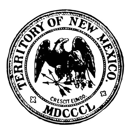 The great seal of state of New Mexico shows that new mexico still holds on to its mexican, American, Spanish traditions as mexican eagle is small and covered by large American eagle vintage line drawing. Ilustrace