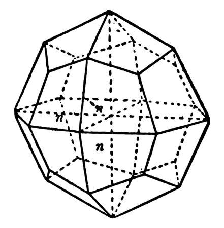 Trisoctahedron tetragonal projection. A trisoctahedron each face is a quadrilateral, vintage line drawing or engraving illustration.