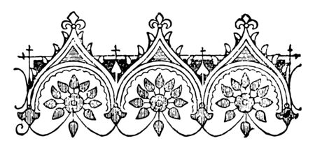 The picture shows ornate design. There are three mountains like design along with leaf like structure, vintage line drawing or engraving illustration.