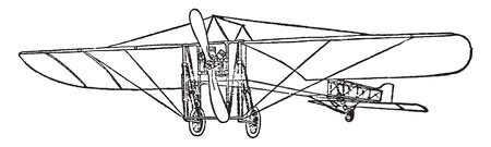 Monoplane is a fixed wing aircraft with a single main wing plane, vintage line drawing or engraving illustration.