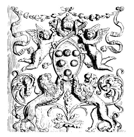 This image shows the arms of Leo X. Includes several types of arms. There are 2 lions on the bottom side of the image, vintage line drawing or engraving illustration.