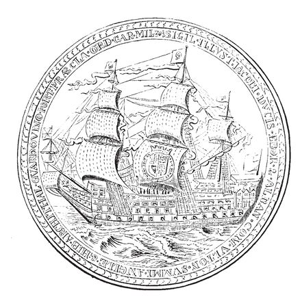 Medal struck in honour of James Duke of York By Thomas Simon, vintage line drawing or engraving illustration. Banque d'images - 132905273